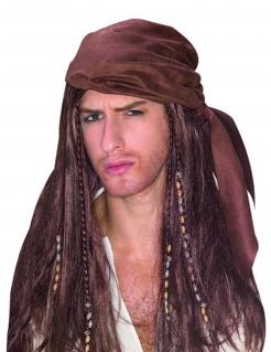 Pirat Perücke mit Bandana schwarz-rot