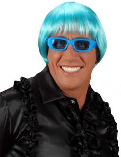 Kurze Disco-Perücke 70er-Jahre blau
