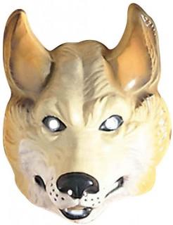Schaurige Wolf-Maske Halloweenmaske beige-weiss