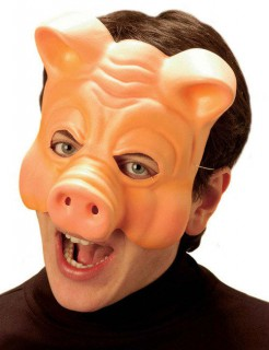 Schwein-Maske Halloweenmaske beige
