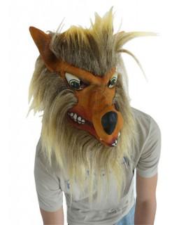 Wolf Maske mit Fell braun