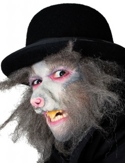 Halbmaske Ratte Halloween grau