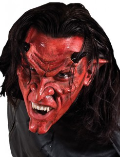 Halbmaske Teufel Halloweenmaske rot-schwarz