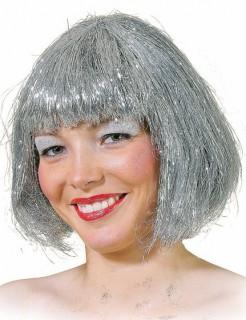 Bob-Perücke für Damen silberfarben