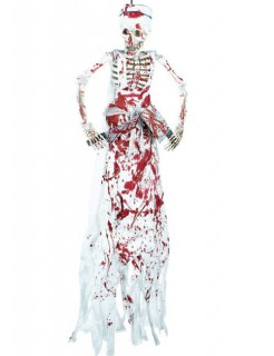 Blutiger Metzger Skelett Halloween-Deko weiss-rot 182cm