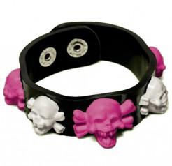 Kunstleder-Armband mit Totenköpfen schwarz-pink-weiss