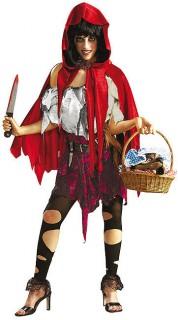Zombie Rotkäppchen Halloween Damenkostüm rot-weiss-grau