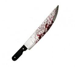 Blutiges Metzgermesser schwarz-silber 51cm