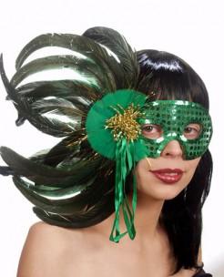 Venezianische Maske mit Federn Kostüm-Accessoire grün