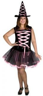 Bezaubernde Hexe Magierin Halloween Damenkostüm Übergrösse schwarz-rosa