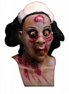 Zombie Nachtschwester Halloween-Maske braun-weiss-schwarz