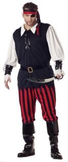 Piratenkostüm für Herren Halloween schwarz-weiss-rot