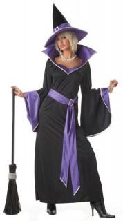 Hexen-Damenkostüm Halloween schwarz-lila