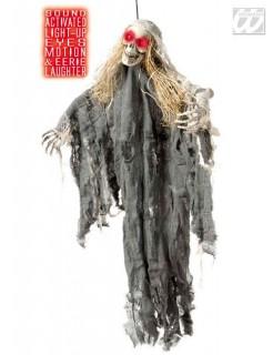 Animiertes Skelett mit Leuchtaugen und Sound Halloween-Deko grau-weiss-beige 90cm