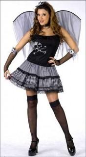Punkiges Feenkostüm schwarz-grau