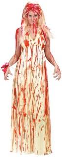 Blutbefleckte Braut Halloween Damenkostüm beige-rot