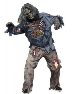 Zombie Halloween-Kostüm für Herren grau-grün-blau