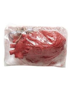 Eingeschweisstes Herz Halloween Party-Deko rot-weiss 13x10x7cm
