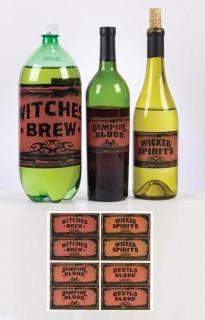 Halloween Flaschen Etiketten Set 3-teilig schwarz-braun 14x34cm