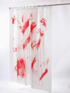 Blutiger Duschvorhang Deko für Halloween weiss-rot 178x183cm