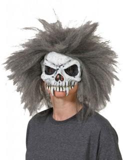 Vampirschädel Halbmaske mit Haaren grau-weiss