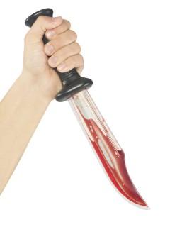 Blutiges Horror-Schlitzer-Messer für Erwachsene schwarz-rot-silber 33cm