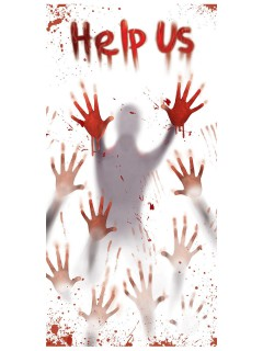 Blutige Halloween Türdeko Help Us weiss-rot 152x76cm