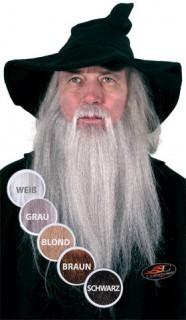 Zauberer-Bart Echthaar grau meliert