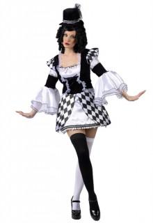 Zirkus Clownkostüm für Damen schwarz-weiss