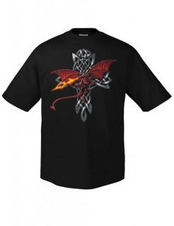Keltischer Drachen mit Kreuz T-Shirt schwarz-rot-grau