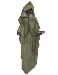 Skelett mit Kette Hänge-Deko für Halloween grün-grau-beige 153cm