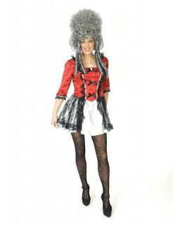 Barock-Kleid Damenkostüm rot-weiss-schwarz