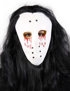 Eishockey-Maske Blut-Augen mit Haaren weiß-rot-schwarz