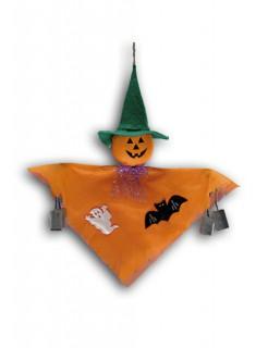 Kleiner Geister-Kürbis Halloween-Hängedeko orange 33cm