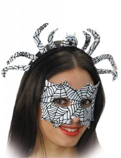 Spinnennetz-Set Augenmaske und Haarreif Halloween schwarz-weiss