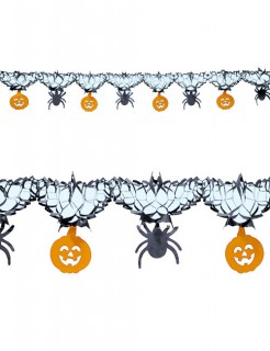 Kürbis Spinnen Girlande Halloween Party-Deko schwarz-orange 300x15cm