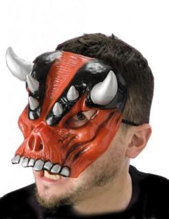 Gehörnter Dämon Halloween Horror-Halbmaske rot-silber-schwarz