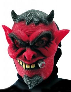 Teufelsmaske mit Hörnern und Zigarre Halloween-Maske rot-schwarz
