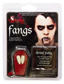 Vampirzähne mit Kleber weiss