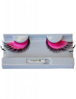 Wimpern mit Dekoration rosa-schwarz