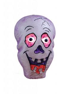 Schädel mit Leuchtaugen Halloween-Dekoration grau-lila