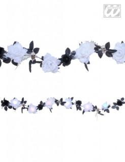 Girlande mit Totenschädeln und leuchtenden Rosen Party-Deko bunt 180x7cm