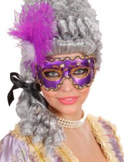 Augenmaske mit Glitzer-Steinen und Federn Accessoire lila-gold