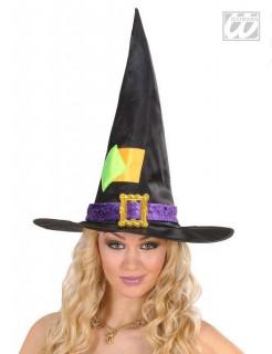 Hexen-Hut mit Flicken Kostüm-Accessoire schwarz-grün-gelb
