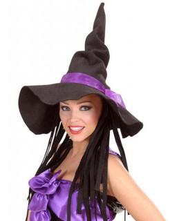 Filz-Hexen-Hut mit Haarteil schwarz-lila