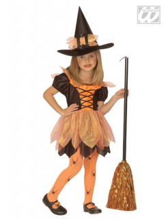 Halloween-Kinderkostüm Waldhexe orange-schwarz