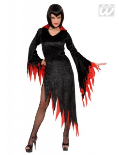 Gothic-Halloween Damenkostüm schwarz-rot