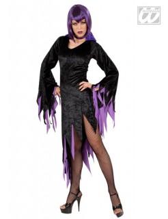 Gothic-Hexekostüm für Damen Halloween schwarz-lila