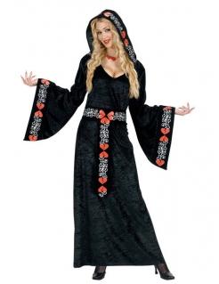 Mittelalterkostüm Königin schwarz-rot-weiss
