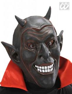 Teufelsmaske lachend Halloween-Maske schwarz-weiss